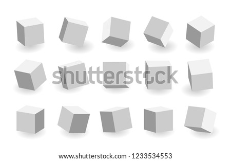 Grey 3D cubes pack isolated on white background. Different light, perspective and angle. Vector illustration