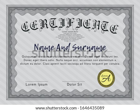 Grey Diploma. Beauty design. Customizable, Easy to edit and change colors. With great quality guilloche pattern.