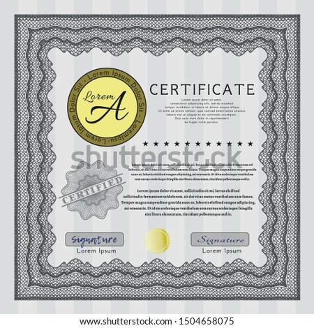 Grey Diploma template. Customizable, Easy to edit and change colors. With great quality guilloche pattern. Elegant design.