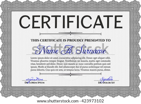 Grey Diploma Template Or Certificate Template. With Quality Background.  Vector Pattern That Is Used  Money Certificate Template