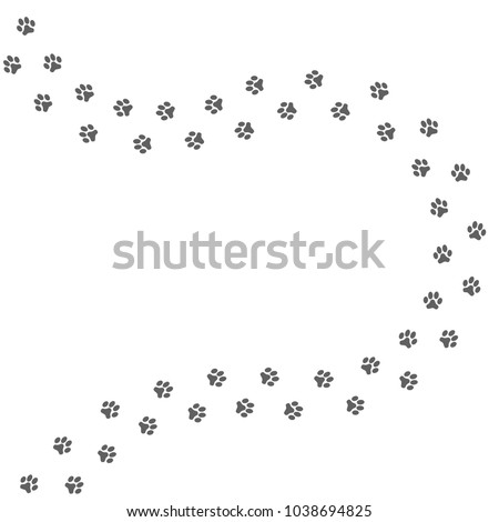 Grey dog paws prints isolated on white background. Vector illustration.