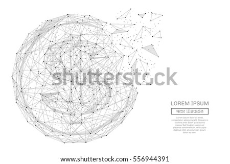 Grey dollar coin with polygon line on abstract background. Polygonal space low poly with connecting dots and lines. Connection structure. Vector financial background.
