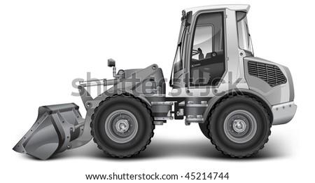 Grey dredge, isolated over white background, heavy machine