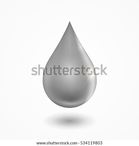 grey droplet with soft shadow