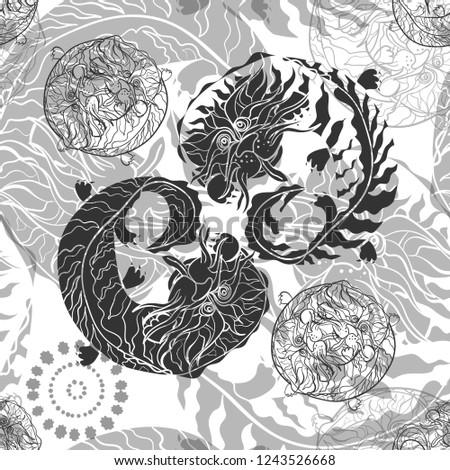 grey eastern dragons pattern