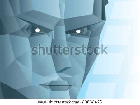 grey face of a robot