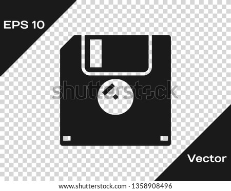 Grey Floppy disk for computer data storage icon isolated on transparent background. Diskette sign. Vector Illustration