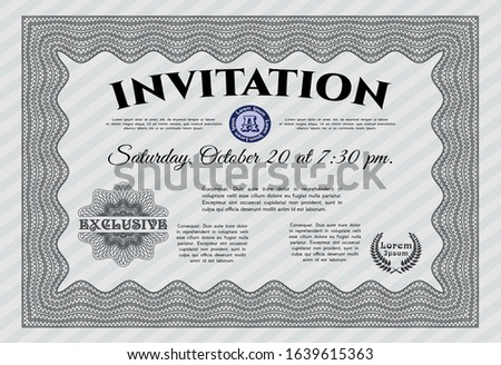 Grey Formal invitation. Money style design. Complex background. Customizable, Easy to edit and change colors.