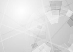 Grey geometric technology background with gear shape. Vector abstract graphic design