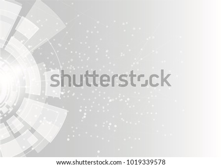 Grey geometric technology background with gear shape. Vector abstract graphic design.Abstract futuristic communication low poly .