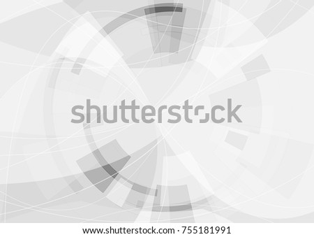 Grey geometric technology wavy background with gear shape. Vector abstract graphic design