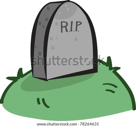 grey grave in grass with the letters rip - stock vector