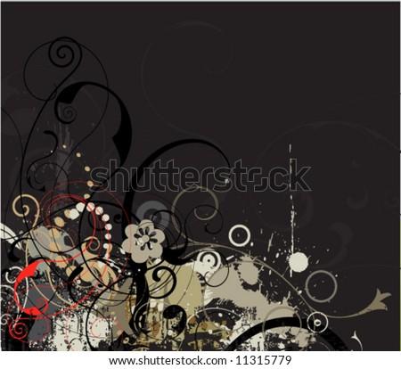 grey grunge floral vector