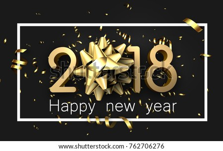 grey 2018 happy new year background with gold serpentine and bow vector illustration