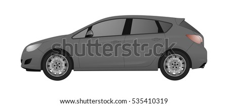 grey hatchback car  isolated on