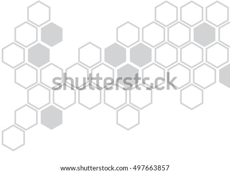 grey hexagon illustration of hexagon pattern is abstract pattern arranged of hexagon from shape of beehive and honeycomb on white background