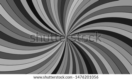 Grey hypnotic abstract striped swirl background design - vector graphic from swirling rays
