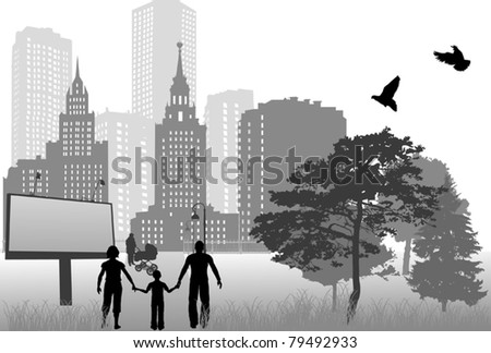 grey illustration with family in city