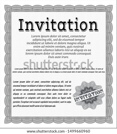 Grey Invitation template. Excellent design. With complex background. Customizable, Easy to edit and change colors.