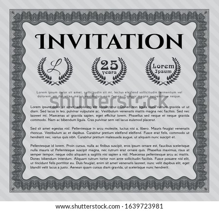 Grey Invitation template. With guilloche pattern. Customizable, Easy to edit and change colors. Modern design.