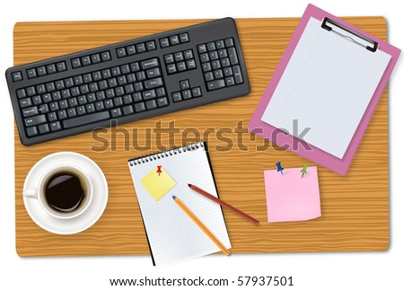 Grey keyboard and office supplies laying on the brown board. Vector.