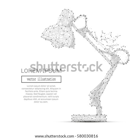 Grey lamp on desk with polygon line on abstract background. Polygonal space low poly with connecting dots and lines. Connection structure. Vector science background