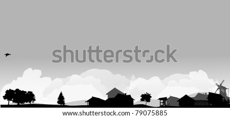 grey landscape with trees and