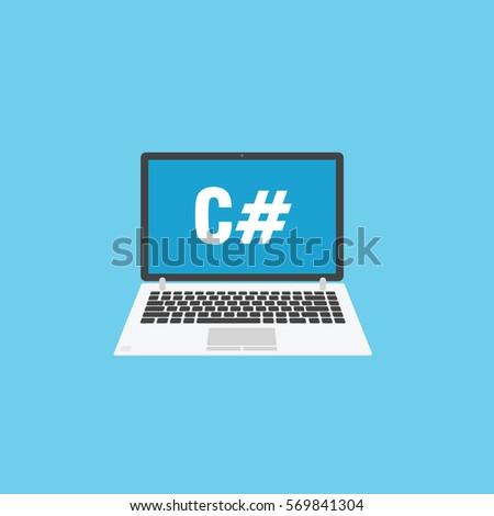 Grey laptop for programming. C sharp language concept