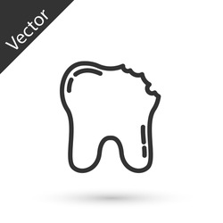 Grey line Broken tooth icon isolated on white background. Dental problem icon. Dental care symbol. Vector.
