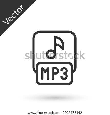 Grey line MP3 file document. Download mp3 button icon isolated on white background. Mp3 music format sign. MP3 file symbol.  Vector Stock photo ©