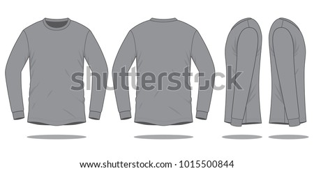 Grey Long Sleeve T Shirt Vector For TemplateFront And Back Views