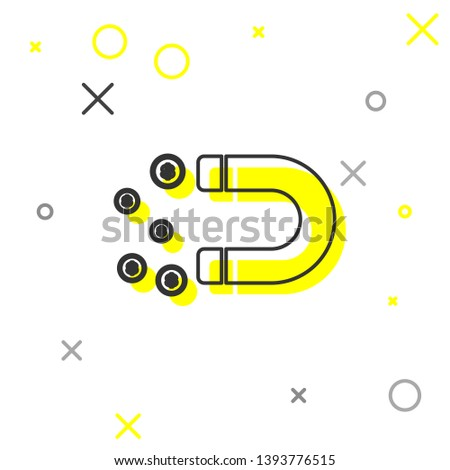 Grey Magnet with money line icon isolated on white background. Concept of attracting investments, money. Big business profit attraction and success. Vector Illustration