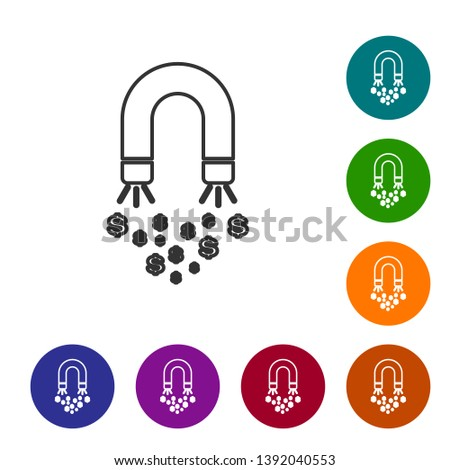 Grey Magnet with money line icon on white background. Concept of attracting investments, money. Big business profit attraction and success. Set icon in color circle buttons. Vector Illustration