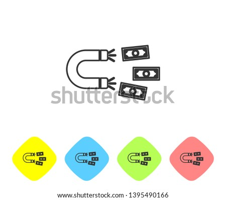 Grey Magnet with money line icon on white background. Concept of attracting investments, money. Big business profit attraction and success. Set icon in color rhombus buttons. Vector Illustration