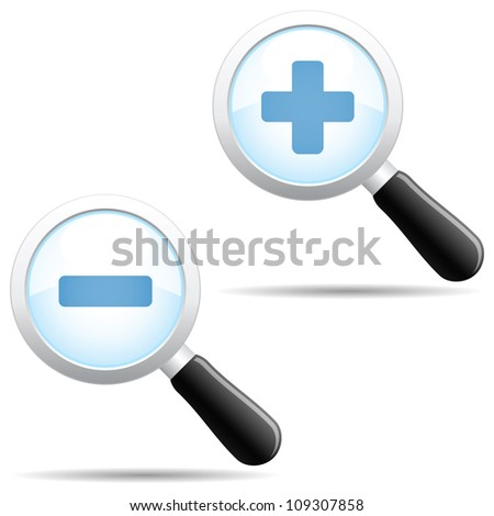 Grey magnifier body with blue zoom in and out symbols.