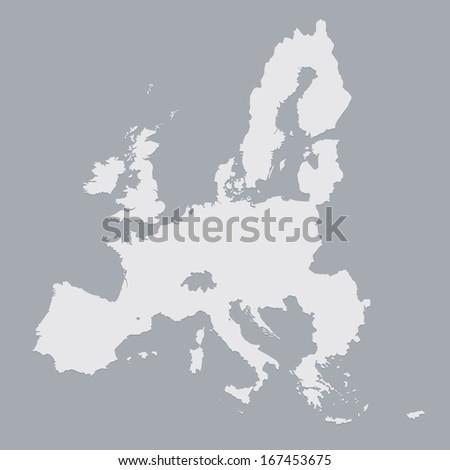grey map of European Union Stockfoto ©