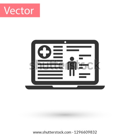 Grey Medical clinical record on screen of laptop icon isolated on white background. Health insurance form. Document: clinical record, prescription, medical check marks report. Vector Illustration
