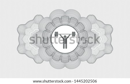Grey money style emblem or rosette with weightlifting icon inside