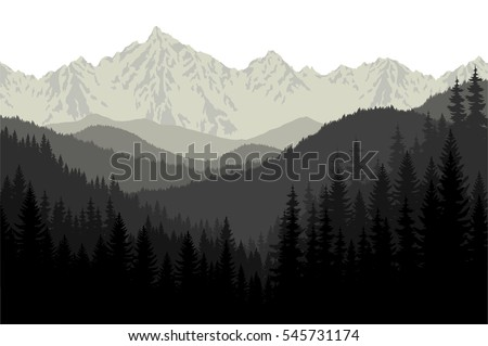 grey mountains forest retro...