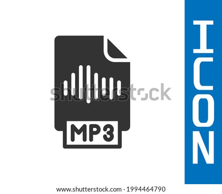 Grey MP3 file document. Download mp3 button icon isolated on white background. Mp3 music format sign. MP3 file symbol.  Vector Stock photo ©