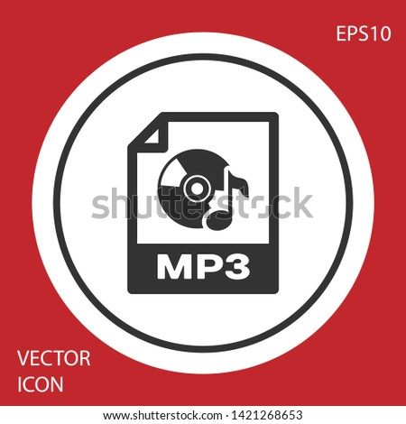 Grey MP3 file document icon. Download mp3 button icon isolated on red background. Mp3 music format sign. MP3 file symbol. White circle button. Vector Illustration