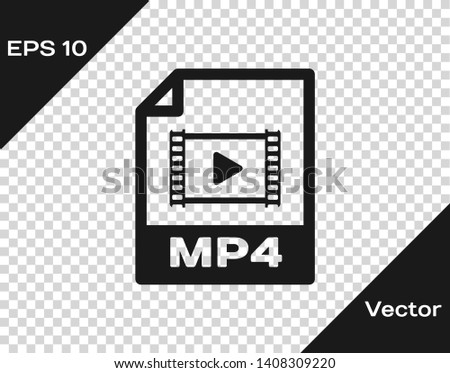 Grey MP4 file document icon. Download mp4 button icon isolated on transparent background. MP4 file symbol. Vector Illustration