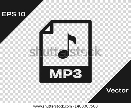 Grey MP3 file document icon. Download mp3 button icon isolated on transparent background. Mp3 music format sign. MP3 file symbol. Vector Illustration