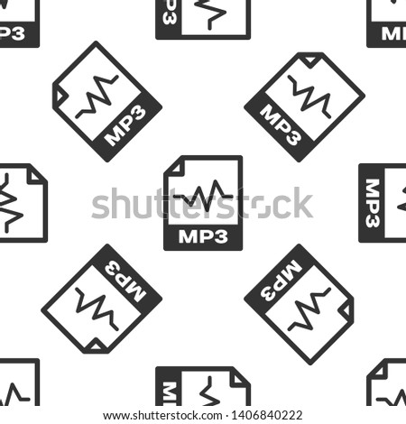 Grey MP3 file document icon. Download mp3 button icon isolated seamless pattern on white background. Mp3 music format sign. MP3 file symbol. Vector Illustration