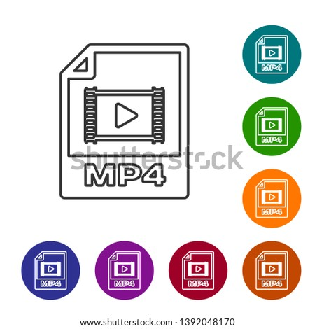 Grey MP4 file document icon. Download mp4 button line icon isolated on white background. MP4 file symbol. Set icon in color circle buttons. Vector Illustration