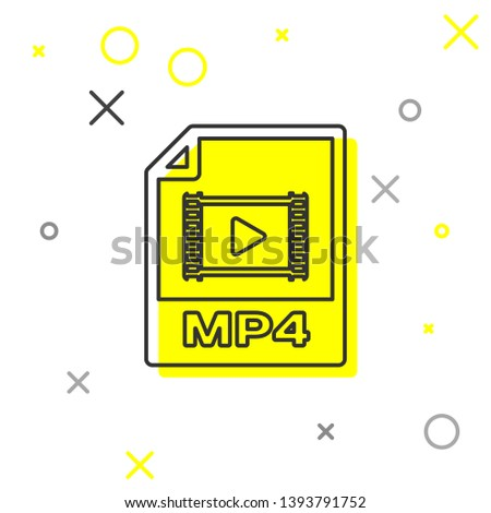 Grey MP4 file document icon. Download mp4 button line icon isolated on white background. MP4 file symbol. Vector Illustration