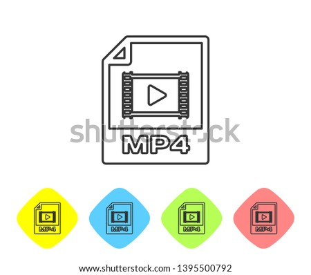 Grey MP4 file document icon. Download mp4 button line icon isolated on white background. MP4 file symbol. Set icon in color rhombus buttons. Vector Illustration