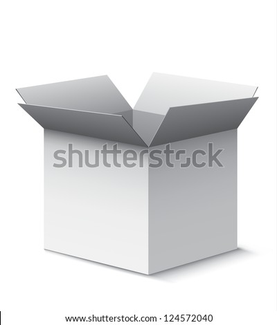 Grey open box with realistic shadows isolated on white. EPS10 vector.