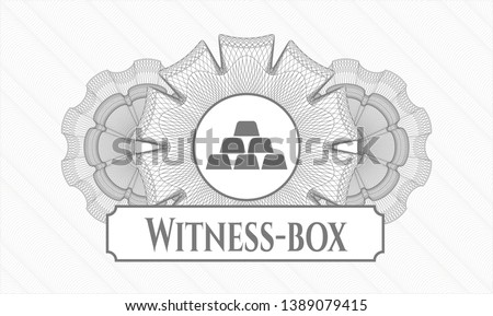 Grey passport money rosette with gold bullion icon and Witness-box text inside