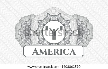 Grey passport money style rosette with weightlifting icon and America text inside